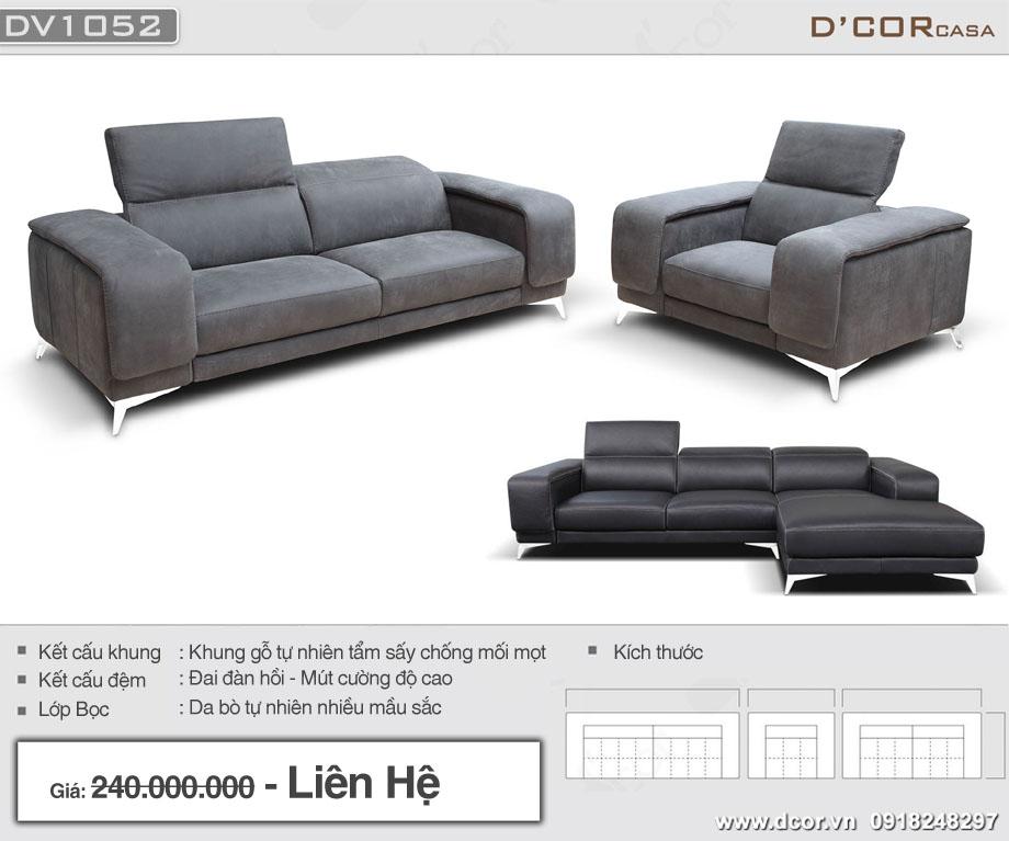 Mẫu ghế sofa văng hiện đại màu xám chân kim loại