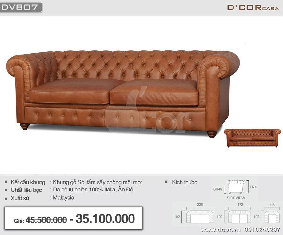 Mẫu ghế sofa cổ điển chất liệu da bò nhập khẩu Malaysia