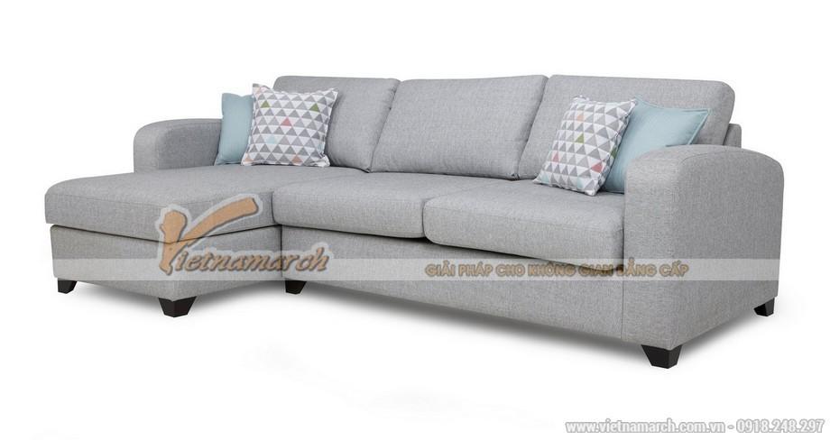Mẫu sofa góc vải nỉ đơn giản, hiện đại tông màu sáng trẻ trung