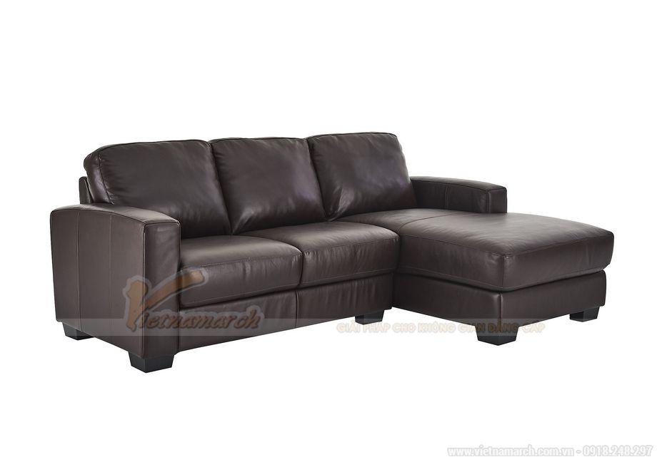 Mẫu sofa góc da đơn giản, hiện đại màu nâu sang trọng