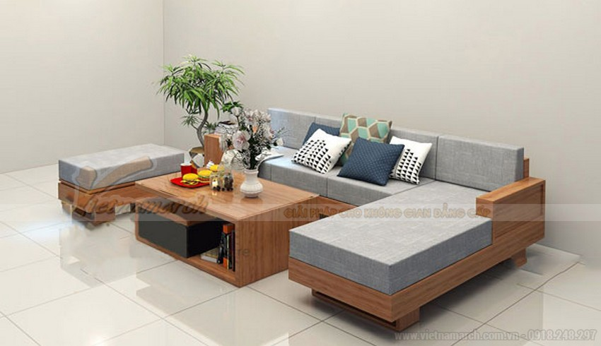 Mẫu ghế sofa gỗ chữ hình L