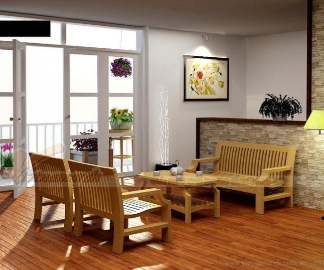 mẫu bàn ghế gỗ với không gian phòng khách nhỏ hẹp