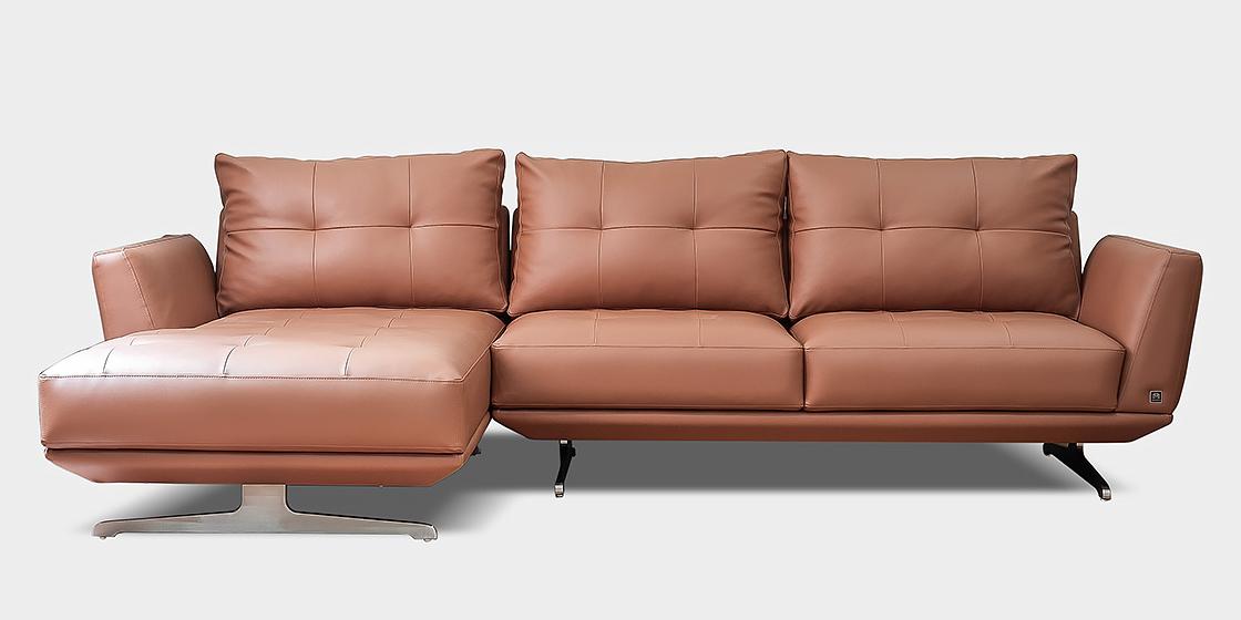 Mẫu ghế sofa da hiện đại màu nâu sang trọng