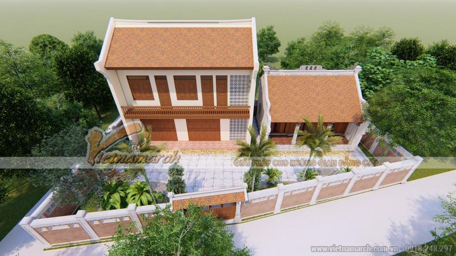 Mẫu thiết kế nhà thờ họ 3 gian 2 mái kết hợp nhà ở đẹp tại Thanh Hóa