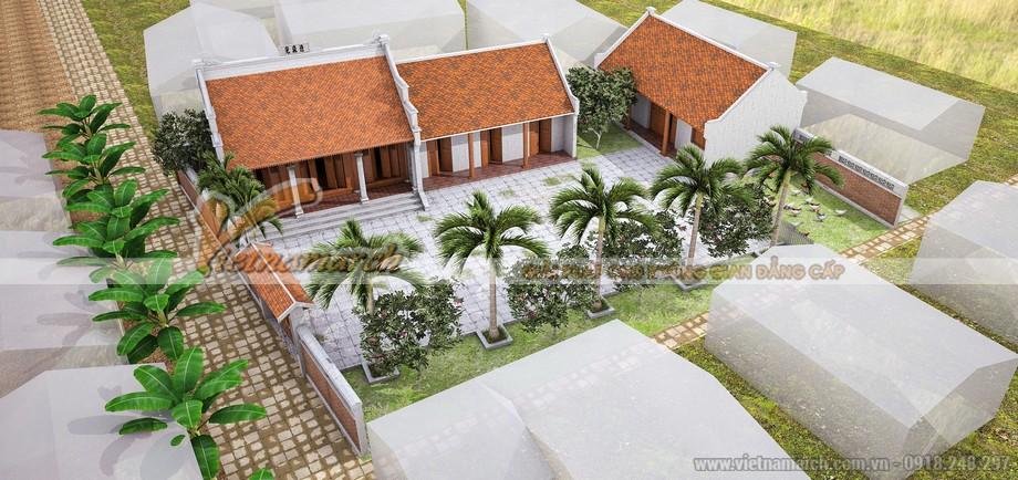 Mẫu thiết kế nhà thờ họ 3 gian 2 mái kết hợp nhà ở đẹp tại Hải Phòng
