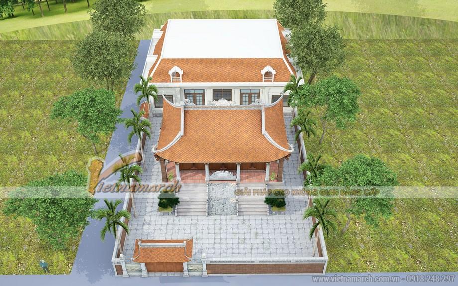 Mẫu thiết kế nhà thờ họ 4 mái kết hợp nhà ở đẹp tại Thái Bình