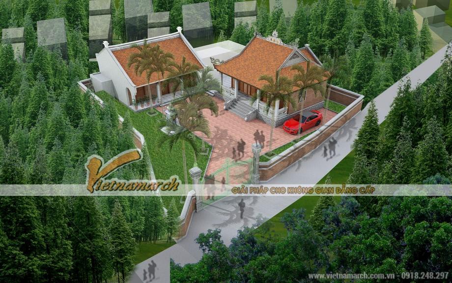 Mẫu thiết kế nhà thờ họ 4 mái kết hợp nhà ở đẹp tại Hải Dương