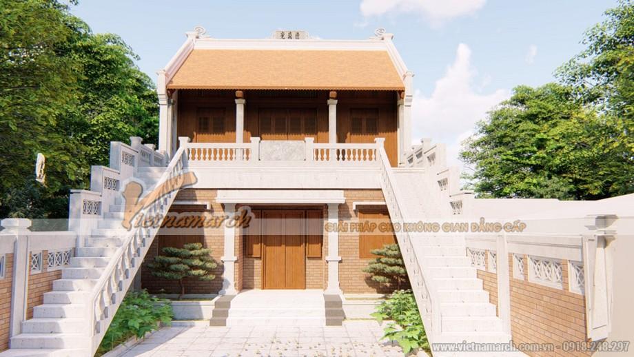 Mẫu thiết kế nhà thờ họ 2 tầng kết hợp nhà ở đẹp tại Quảng Bình