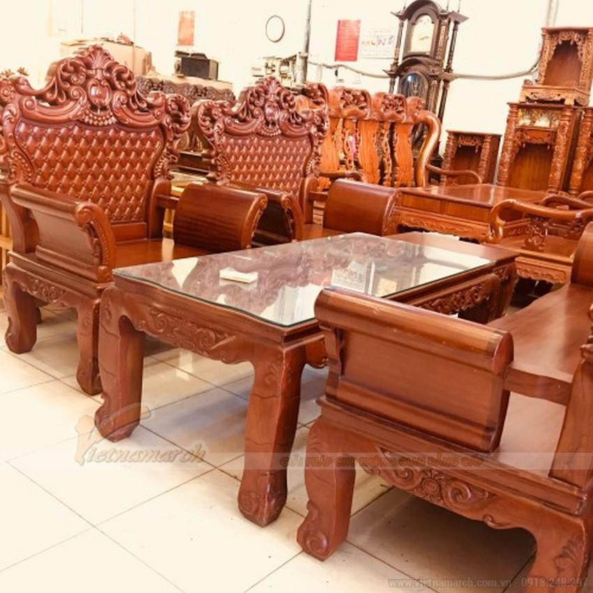 Bộ salon gỗ Gõ đỏ thích hợp cho gia chủ yêu thích sự dũng mãnh