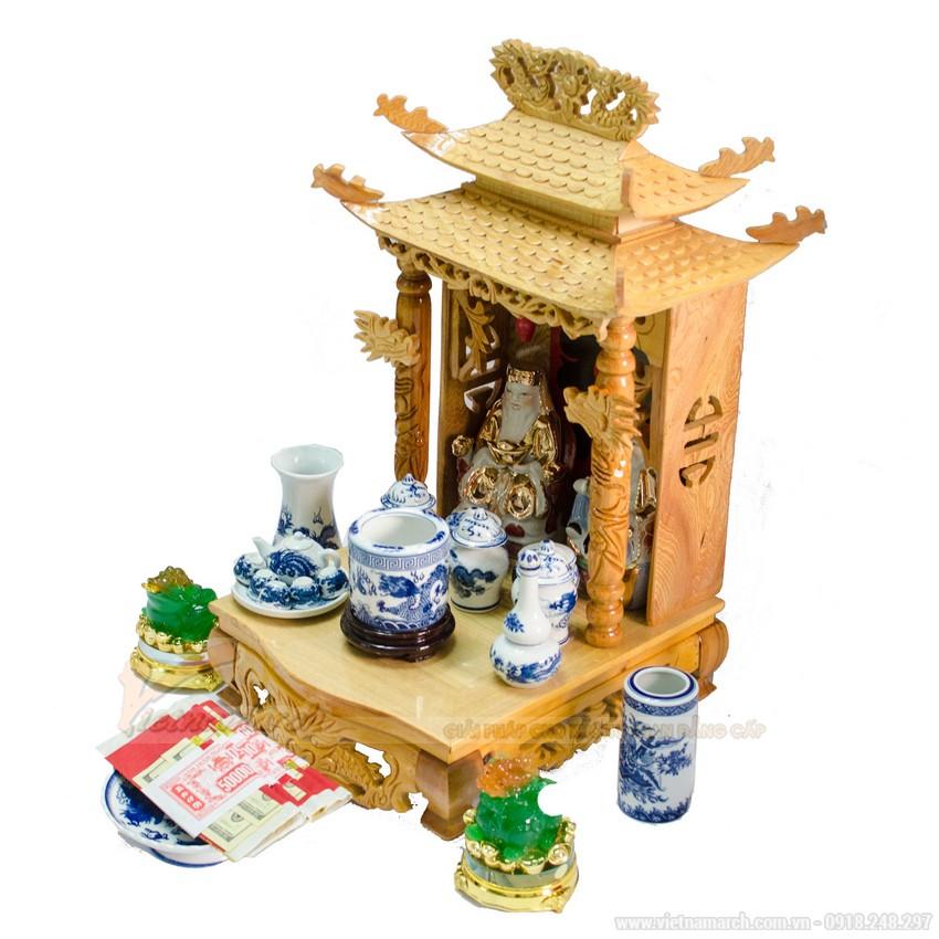 Mẫu bàn thờ thần tài mái cong