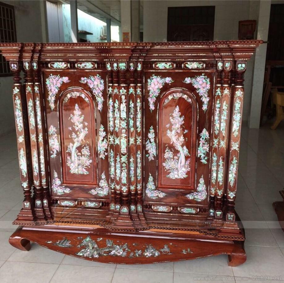 Mẫu tủ thờ truyền thống chạm khảm trai ấn tượng