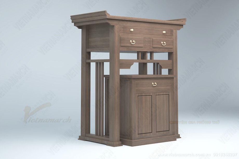 Mẫu bàn thờ đứng có kèm tủ nhỏ hiện đại được ưa chuộng