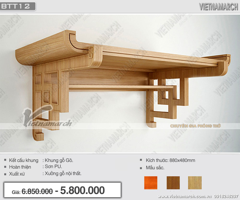 Mẫu bàn thờ treo hiện đại, ấn tượng cho chung cư