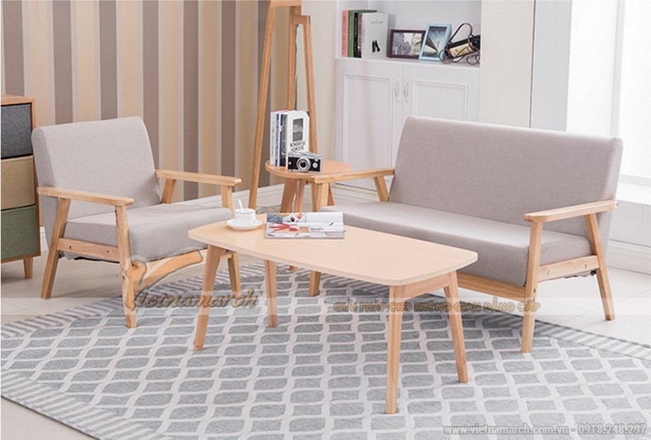 sofa gỗ hiện đại cho nhà nhỏ