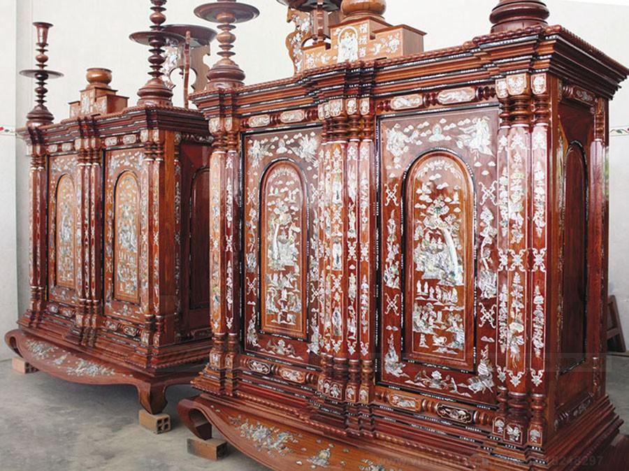 Tủ thờ 13 trám cho thờ phụng tổ tiên
