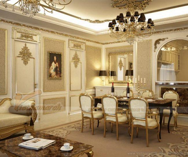trần thạch cao phòng khách biệt thự theo phong cách cổ điển kiểu Pháp