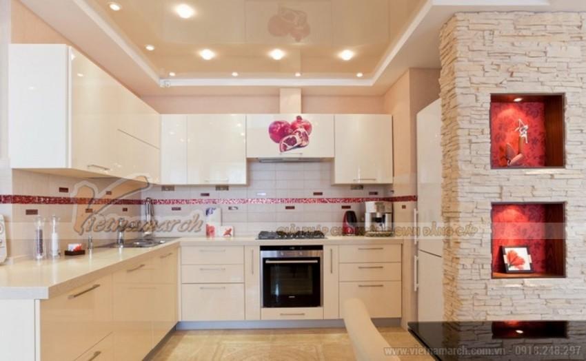 Mẫu trần thạch cao phong cách Hàn Quốc dành cho phòng bếp chung cư