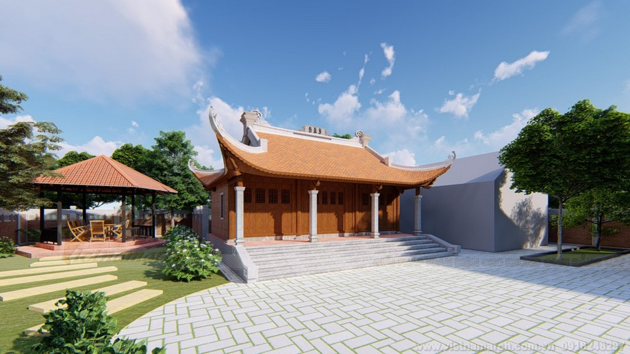 Thiết kế nhà thờ họ 4 mái chính