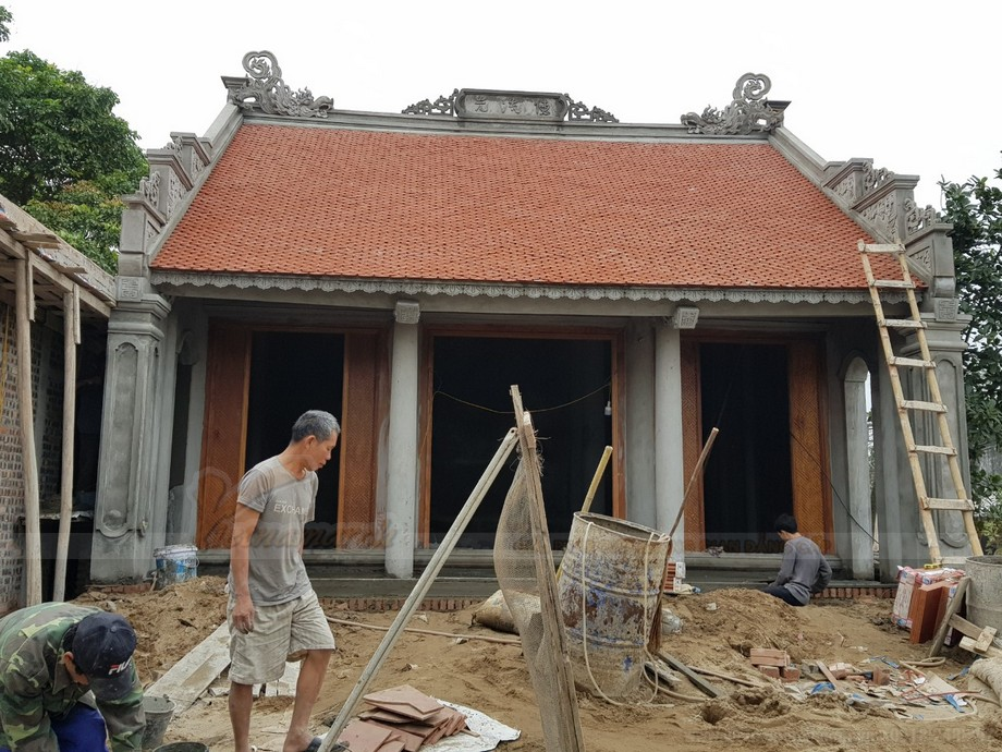 Mẫu nhà thờ họ 3 gian 2 mái nối liền nhà ngang tại Hà Nam được đầu tư hàng trăm triệu đồng để xây dựng