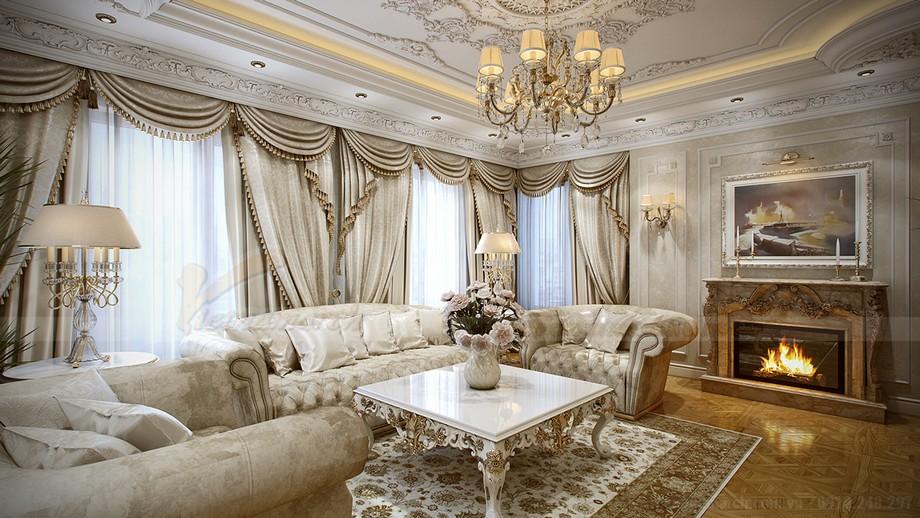 Một góc phòng khách đẹp lãng mạn với bình hoa màu trắng tinh khôi ăn nhập với tồng thể màu sắc của cả một khu vực lớn.