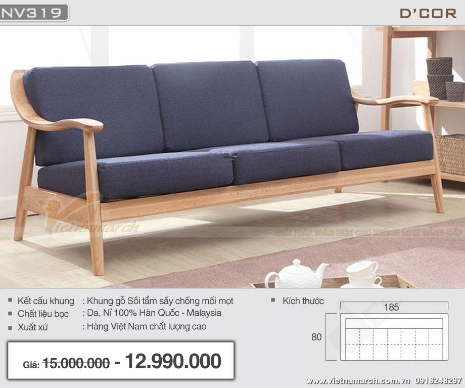 sofa văng 3 chỗ khung gỗ