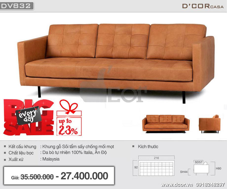 sofa văng 3 chỗ màu da bò