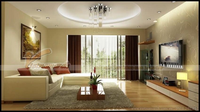 Mẫu trần thạch cao đơn giản hiện đại cho phòng khách