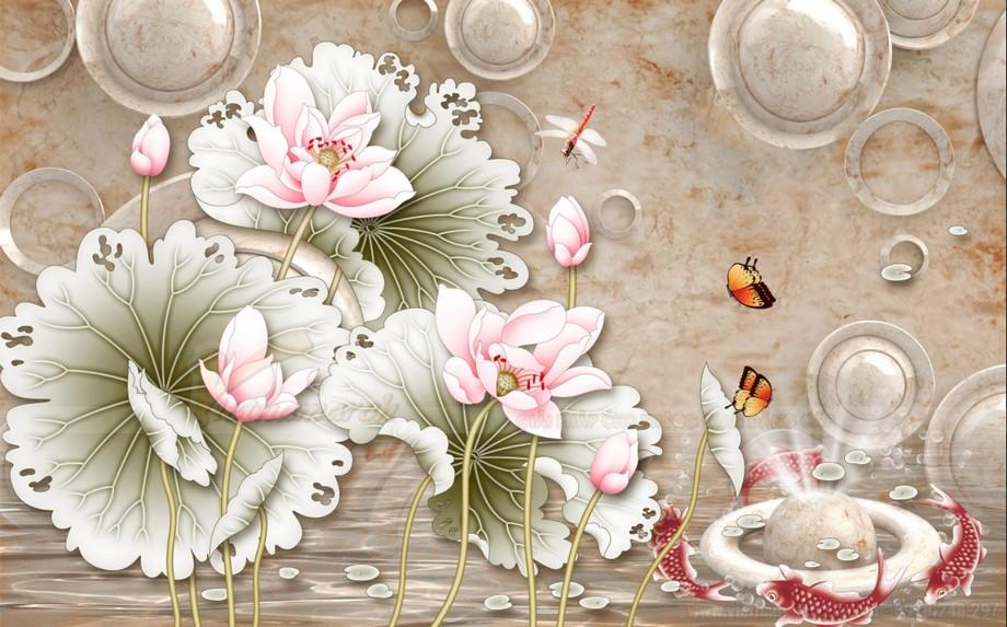 Có những bức họa hoa sen có thể dán cả phòng khách và phòng thờ