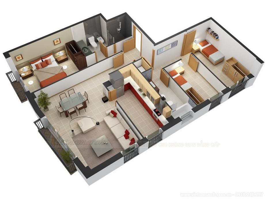 Mẫu thiết kế căn hộ chung cư đẹp diệp tích 70m2