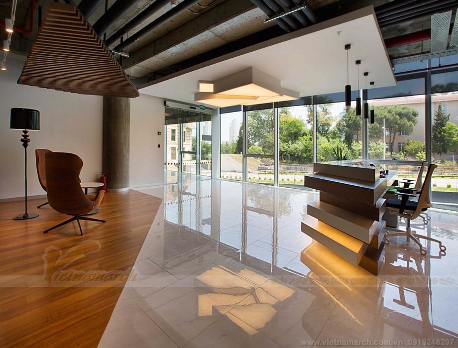 Thiết kế quầy tiếp tân và khu vực ngồi chờ trong coworking space một cách nghệ thuật