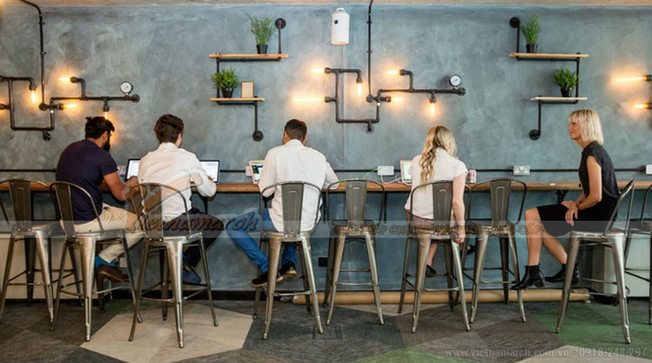 thiết kế quán cafe văn phòng đơn giản