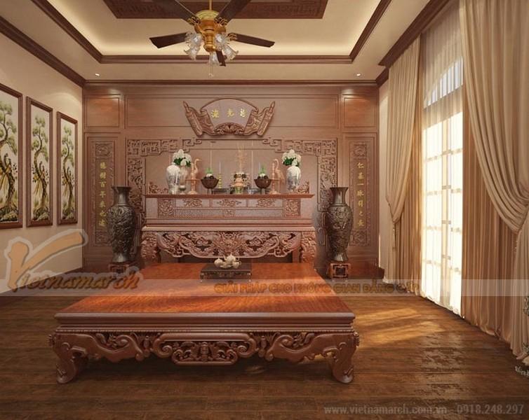 bàn thờ Gia tiên được dành cho một không gian phòng thờriêng nhất định trong căn biệt thựcủa gia đình