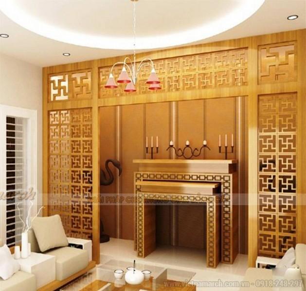 Tủ thờ cần thiết kế ăn khớp với tỉ lệ kích cỡ phòng và tương quan với các đồ nội thất khác khi đặt trong không gian sinh hoạt chung