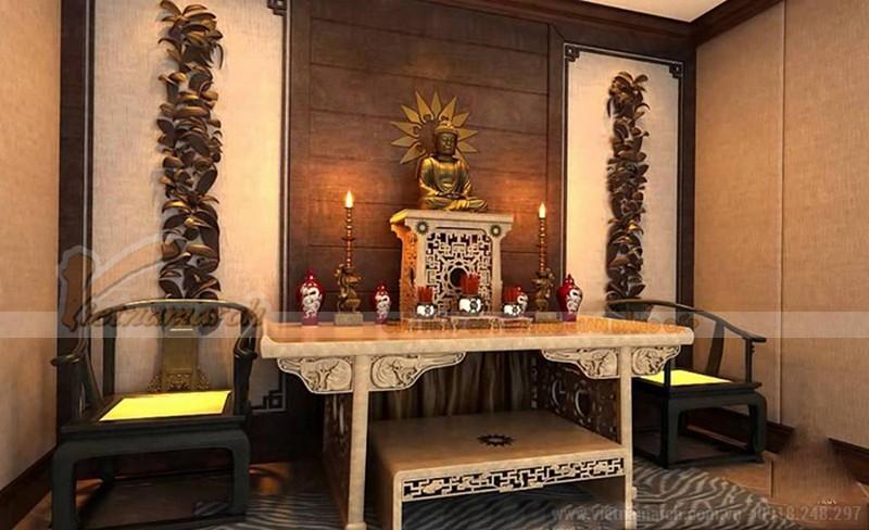 Bàn thờ nhà lô nhà phố thường có màu gỗ tự nhiên hoặc có màu trầm, nâu gỗ
