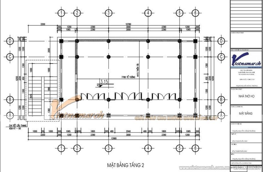 Bản vẽ thiết kế nhà thờ họ 2 tầng 8 mái