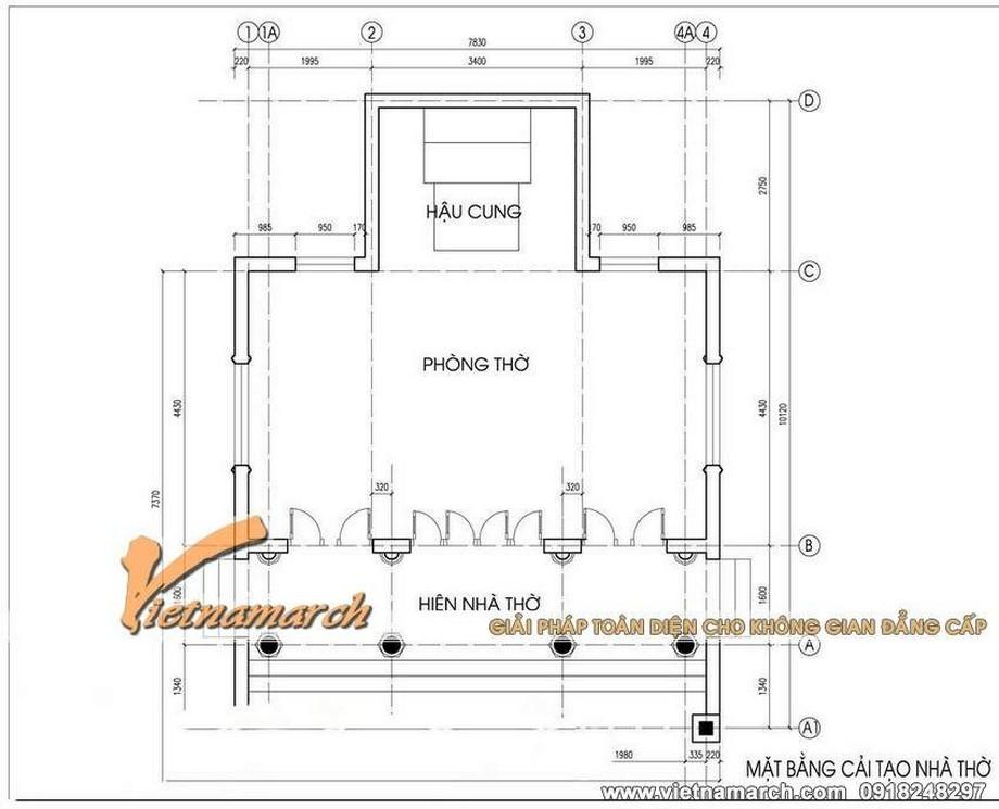 thiết kế nhà thờ họ 3 gian 2 mái có hậu cung