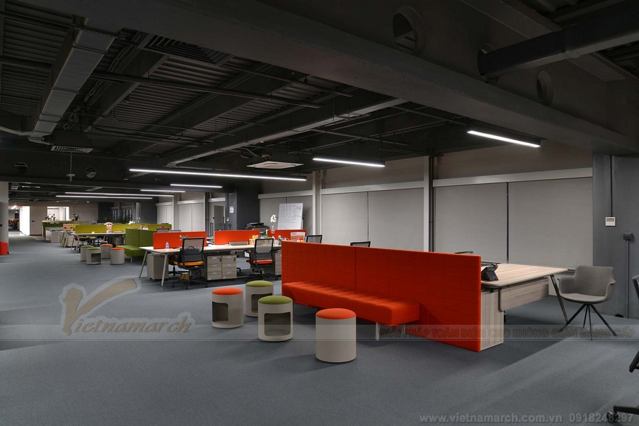 Thiết kế văn phòng làm việc coworking space đa phong cách