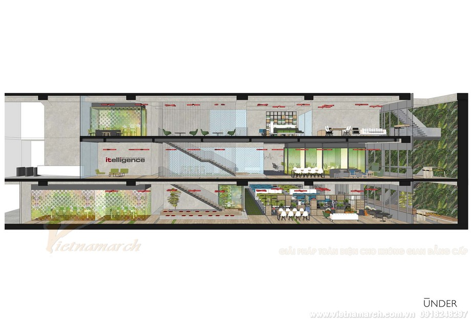 Bản vẽ thiết kế 3D văn phòng coworking space