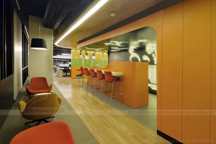 Thiết kế khu vực ăn uống giải trí đẹp và dầy đủ nôi thất cần thiết trong văn phòng