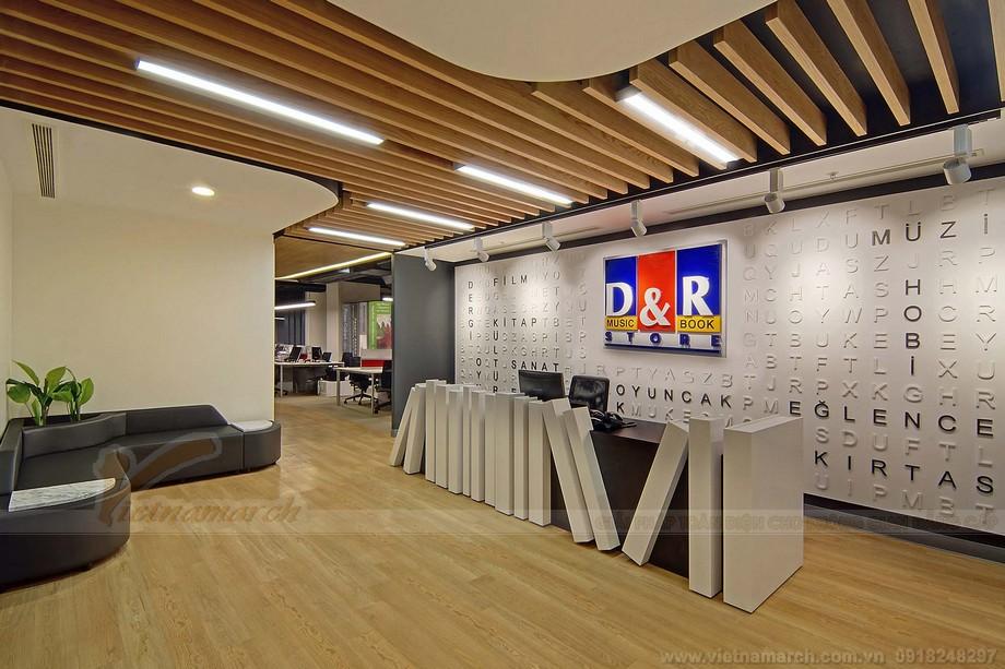 Thiết kế quầy lễ tân trong văn phòng cá tính nêu bật thương hiệu doanh nghiệp