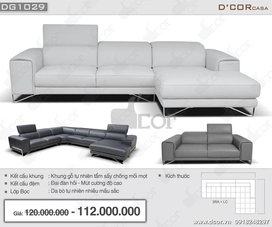 sofa góc da nhập khẩu ý