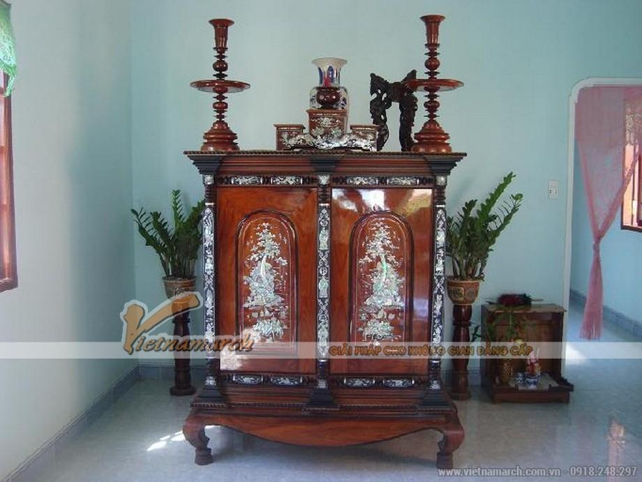 Mẫu bàn thờ chạm khảm trai