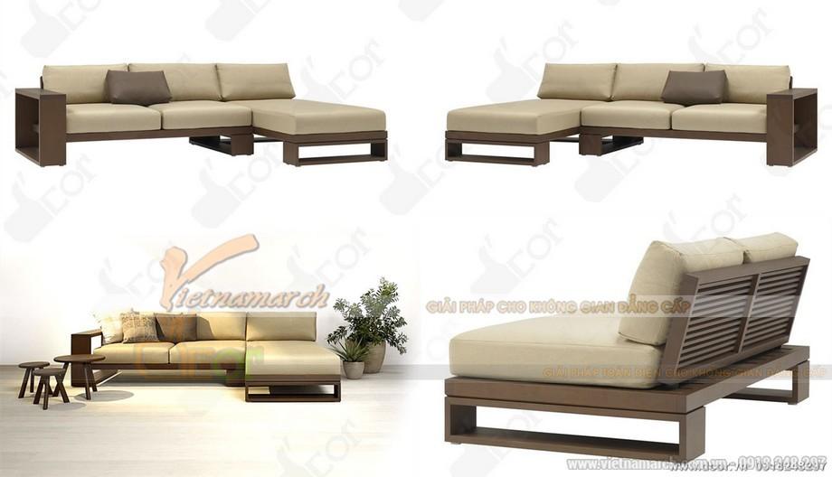 sofa góc gỗ + da