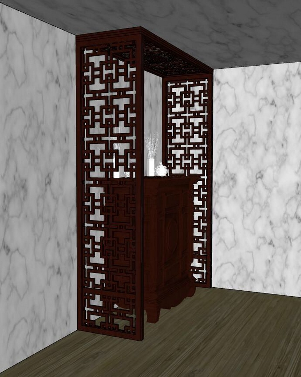 Mẫu vách ngăn CNC phòng thờ bằng gỗ cho chung cư, nhà đẹp