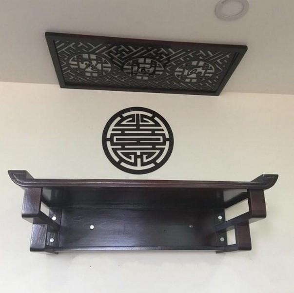 mẫu bàn thờ treo tường 2 tầng có tấm chắn chống ám khói