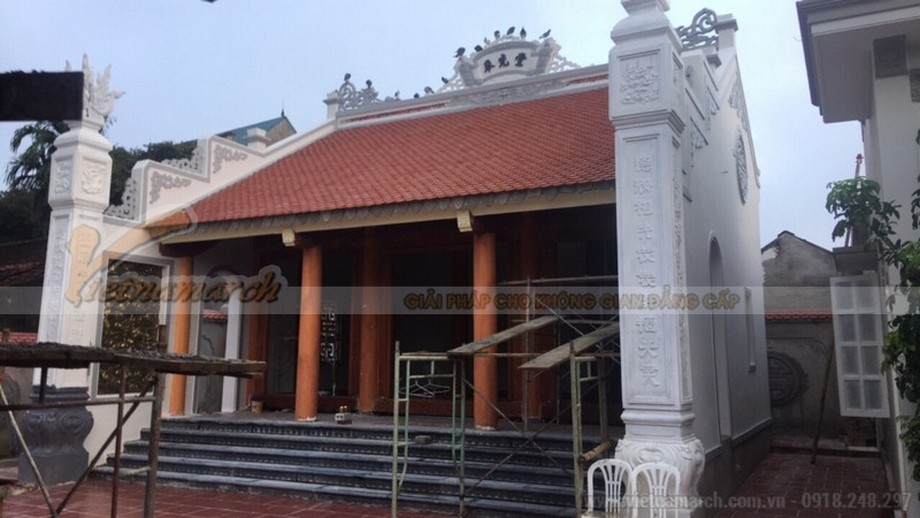 Công trình nhà thờ họ Trịnh ở Thanh Hóa đang thi công