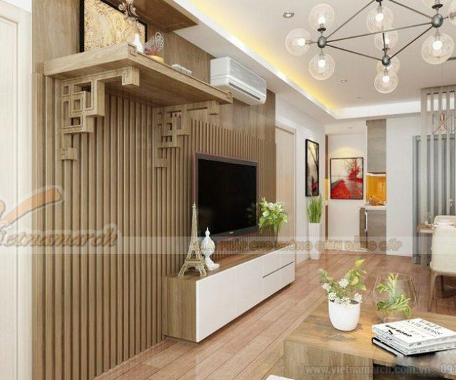 bàn thờ nhà chung cư có cùng tông màu với màu sắc yêu thích mà bạn đã chọn để trang trí phòng khách, phòng bếp. Bởi như vậy sẽ làm căn phòng đồng điệu toàn không gian