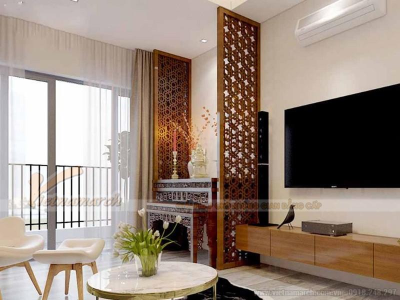 Mẫu bàn thờ đứng làm bằng gỗ tự nhiên theo phong cách truyền thống dành cho các căn hộ chung cư nhỏ.