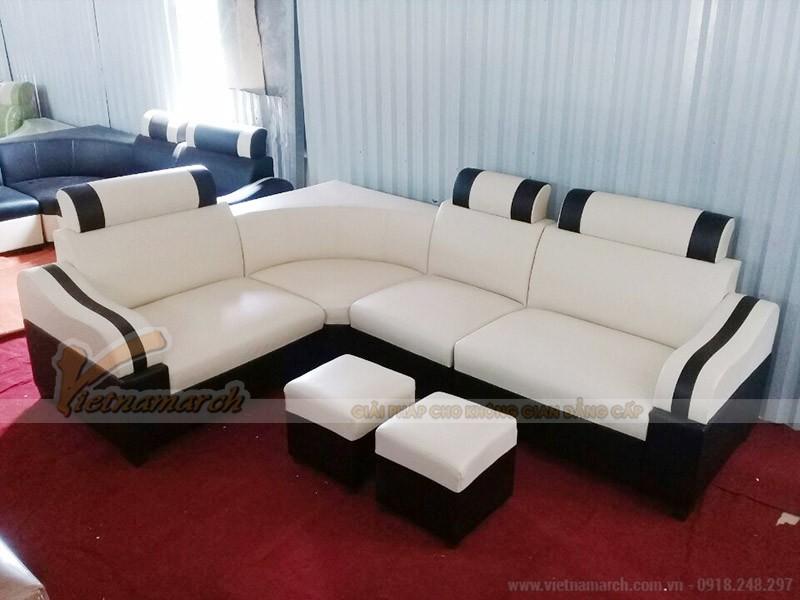 Mẫu sofa da góc giá rẻ màu trắng sọc đen