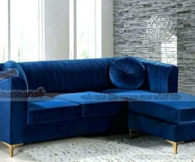 Mẫu sofa góc mini rất hợp cho phòng khách nhỏ gọn. Màu xanh lam đậm rất nổi bật tạo nên nét trẻ trung hiện đại căn phòng.